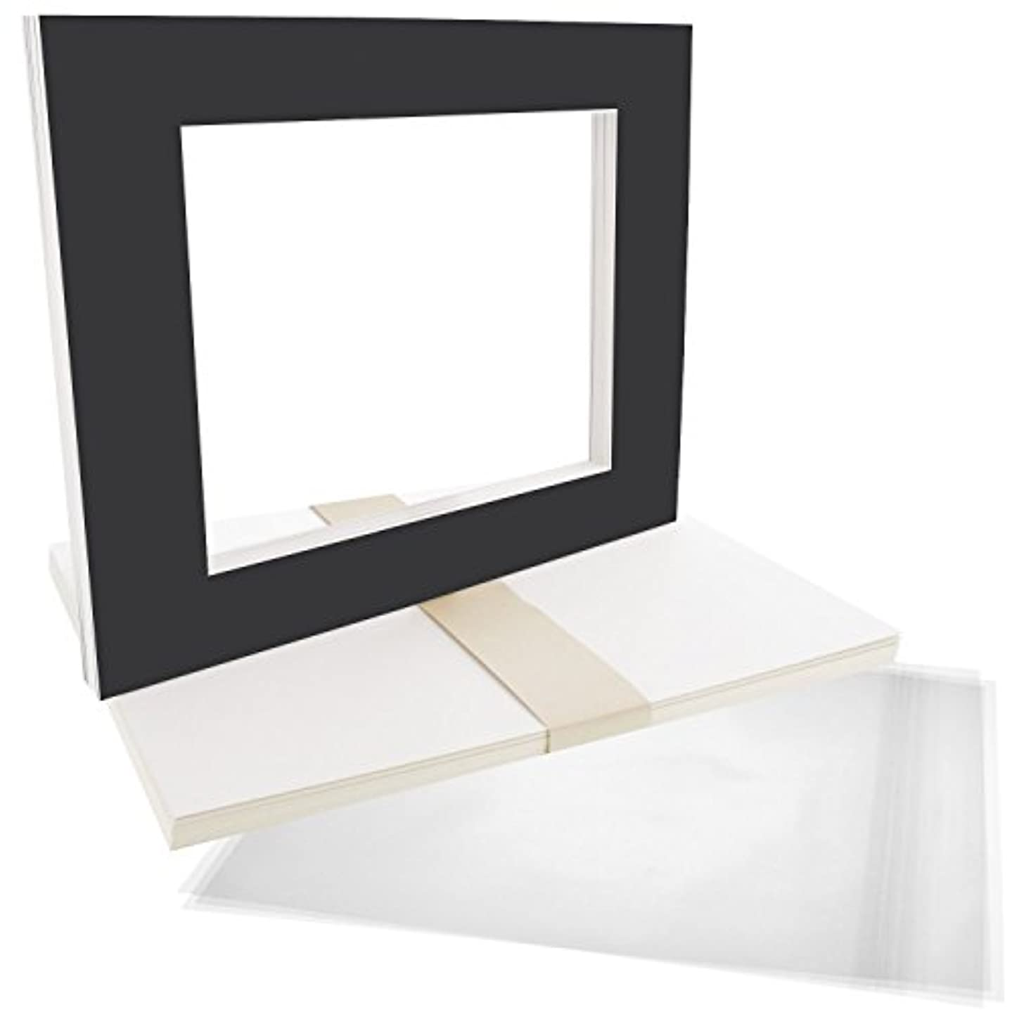 US Art Supply Art Mats Acid-Free Pre-Cut 16x20 Black Picture Mat Matte Sets. Includes a Pack of 10 White Core Bevel Cut Mattes for 11x14 Photos, Pack of 10 Backers & 10 Clear Sleeve Bags