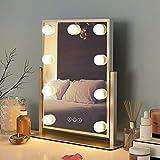 FENCHILIN Espejo de Hollywood, espejo de cosmética con iluminación giratoria, 9 bombillas LED regulables 3 luces de colores, espejo Hollywood, mesa de 10 aumentos, espejo cosmético con lupa