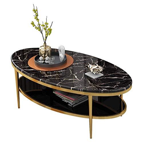 Salontafel Ovaal Grote Zijkant, Dubbele Marmeren Glazen Tafelblad, Metalen Tafelpoten, Ontworpen voor Woonkamer, Zwart