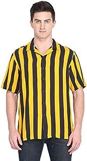 Marc Gibaldi Men's Yellow Stripe Viscose Slim Fit Casual Shirt