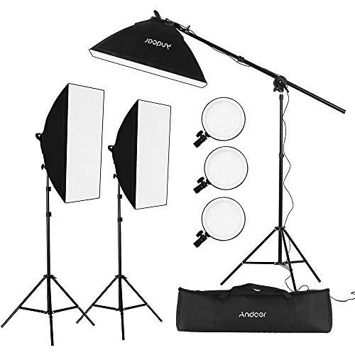 Kit de luz LED Andoer Studio Photography Softbox que incluye cajas suaves de 20*28 pulgadas Temperatura bicolor de 45 W 2700K / 5500K Luces LED regulables 2 metros Soportes de luz Bolsa de transporte