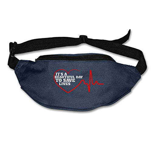Itâ€s A Beautiful Day To Save Lives Water Resistant Runners Belt Waist Pack For Men Women Jogging Hiking Fitness