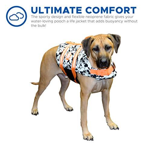 Paws Aboard Dog Life Jacket,  Neoprene Dog Life Vest for Swimming and Boating - Grey/Orange