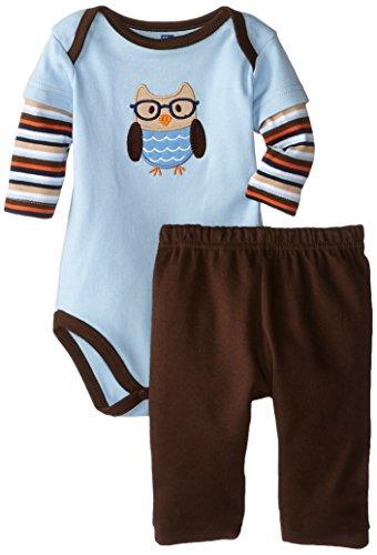 Hudson Baby Unisex Cotton Bodysuit and Pant Set, Owl, 9-12 Months
