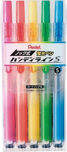 ぺんてる 蛍光ペン ノック式 ハンディラインS SXNS15-5 5色セット