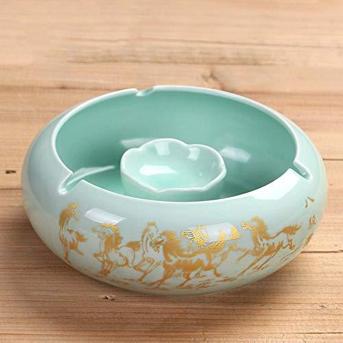 posacenere posacenere per Posacenere da ufficio in ceramica con personalità creativa dello scivolo fumogeno-cilindro verde cavallo verde