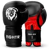 FIGHTR Guantes de Boxeo, Ideales para Estabilidad y Fuerza de Impacto, Guantes para Boxeo, MMA, Muay Thai, Kickboxing y Artes Marciales, Incluye Bolsa de Transporte (Negro/Rojo, 10 oz)