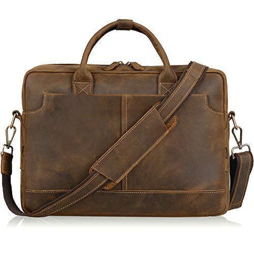 Jack&Chris Genuine Brown Leather Briefcase Bag Mens Messenger Bag 14 inch Leather Laptop Bag for Men, NM1864
