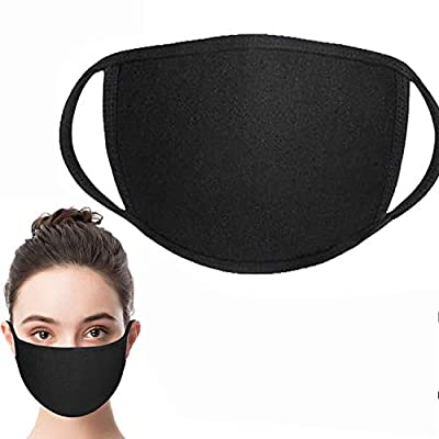 Face Shield ?face covering with Comfortable Earloop?Individually Wrapped?Black Cotton, Washable?Reusable Cloth by LIKOFU