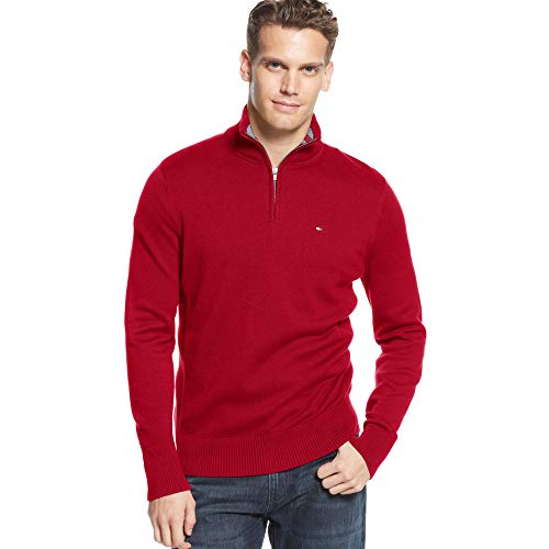 Tommy Hilfiger Maglione con Zip (XXL, Dark Red)