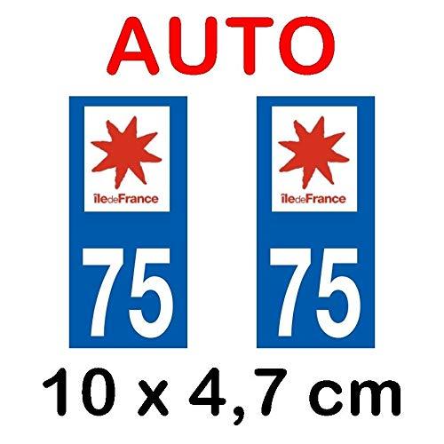 Autocollant plaque immatriculation voiture dpt 75 Paris