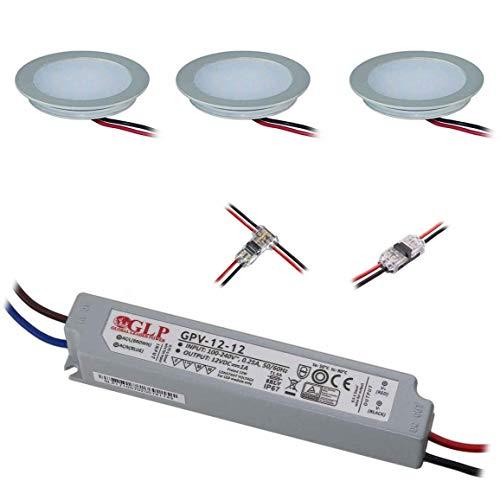 VBLED® 3er-Set Einbauleuchten, Extra flach (12 mm Einbautiefe) Aluminium eloxiert matt warm-weiß 0,9W 12V IP67 für Wand, Boden, Decke, Treppen (rund)