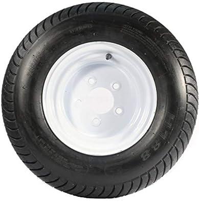 """Kenda Loadstar 205/65-10 LRE 10 PR Bias Trailer Tire on 10"""" 5 Lug White Steel Trailer Wheel"""