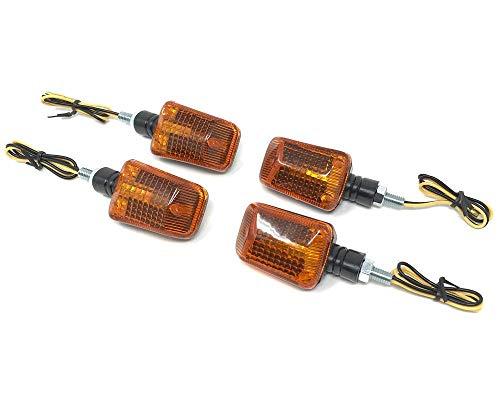 Moto Clignotants 12V Ampoule Street Motos Quads Atvs Scooters Transports Facile à Installer - Noir Avec Lentille Ambre, 2 Pair Set