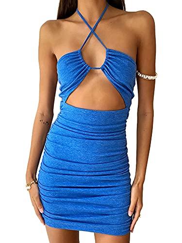 Vestido corto sin respaldo de la impresión del color sólido de la moda del halter atractivo de las mujeres, azul, L