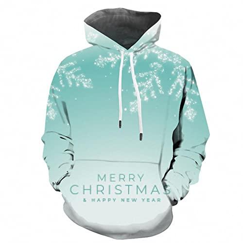 Bestyyo Las mujeres de cuello alto impresión de Navidad casual de manga completa con capucha bolsillo sudaderas Jersey A1804, azul, XL