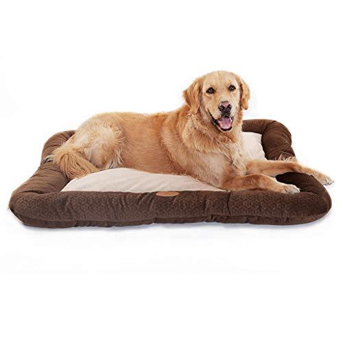 XAJGW Pet Deluxe Orthopädisches Hundebett Gepolstertes Randkissen Rutschfeste Unterseite, gerillter orthopädischer Schaum Haustierbett Extra Bequeme Baumwolle (Farbe : Brown, größe : Large)