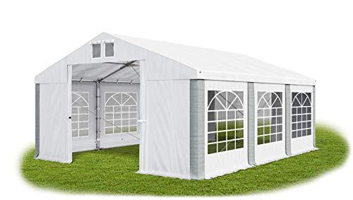 Das Company Partyzelt 4x6m wasserdicht weiß-grau Zelt 560g/m² PVC Plane ganzjährig stahlseile Gartenzelt Winter Plus SD