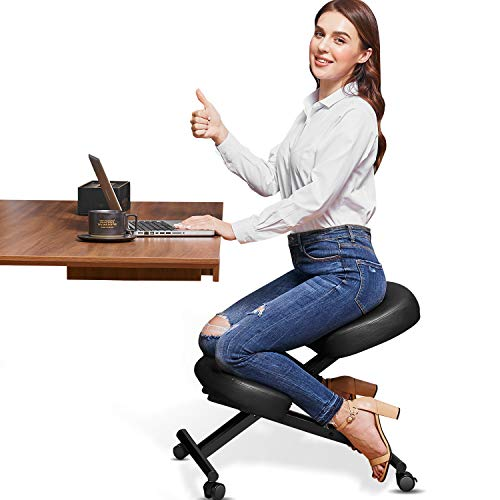 Himimi Ergonomic Kneeling Chair - Faux Leather - Thick Comfortable Moulded Foam Cushions - Brake Casters, Adjustable Stool for Home & Office