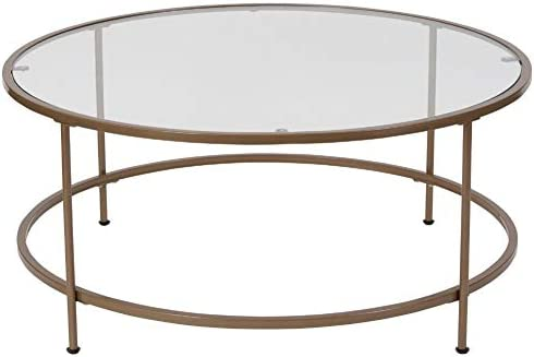Best Flash Furniture Astoria Collection Glass Coffee Table with Matte Gold Frame