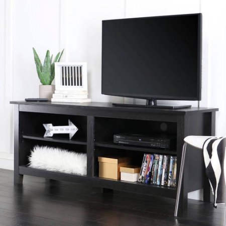 "Contemporary Design Wood TV Stand for TVs up to 60"" High-grade MDF (Black)"