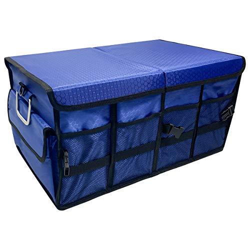 Macallen Almacenaje Maletero Coche Universal Organizador Caja para Accesorios Furgoneta Bolsas Plegable con Cubierta Desmontable 60x35x30 cm, Azul