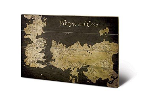Pyramid International sw11393p Game of Thrones (Westeros and Essos Antique Map) Madera Pared de Arte, Madera, 40x 2,5x 59cm