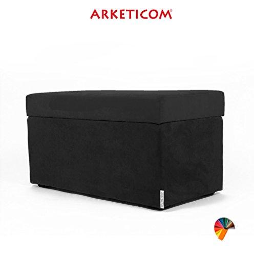 NEUF!!! Arketicom PANDORA Pouf de Rangement Cube CONTAINER Puff Repose-pieds Rembourré Banc Design Tissu Moderne MICROFIBRE Fabriqué à la Main en Italie, Structure bois Massif, Assis PU Coffre Box (Noir, 84 x 42 x 42h)