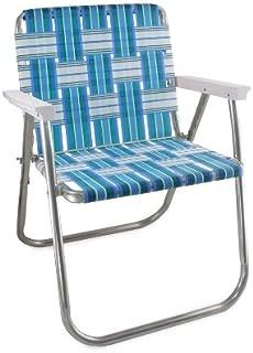 Lawn Chair USA Aluminum Webbed Chair (Picnic Chair, Sea Island with White Arms)