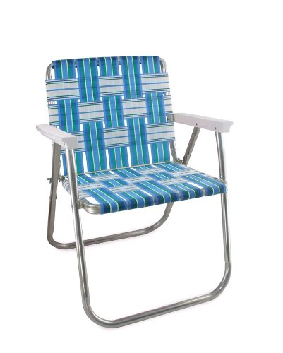 Lawn Chair USA Aluminum Webbed Chair (Picnic Chair, Sea Island with White Arms)