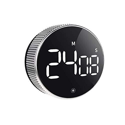 Temporizador de cocina LED digital de cocina Cronómetro magnético electrónico con temporizador de cuenta atrás con interruptor de brillo (color: negro)