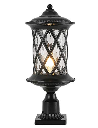 NLIEOPDA Industrial Exterior Lamp Post Lighting Fixtures Waterproof Post Light Outdoor with 3-Inch Pier Mount Base,Water Glass Lampshade 60W E26 Retro Outdoor Pillar Lights for Yard,Porch,Patio