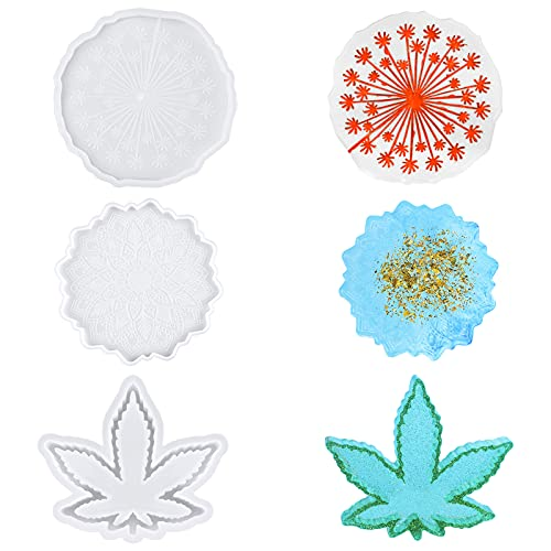 AIMICS Resin Molds Silicone,2PCS Resin Coaster Mold and 1PCS Ashtray Mold for Resin,DIY Resin Epoxy Casting Craft,Silicone Molds for Resin,Home Decoration