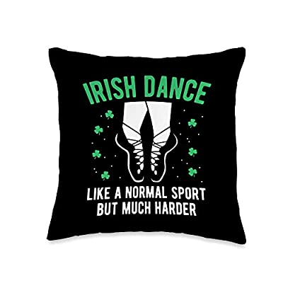 Proud Irish American Gift Store Funny Irish Dance For Girls Women St Patrick's Day Gift Throw Pillow, 16x16, Multicolor