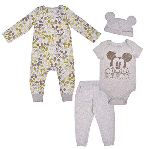 Disney 3 Pack Mickey Mouse Jogger and Onesies Set with Cap, Bodysuit Bundle for Baby, Size NB Off-White