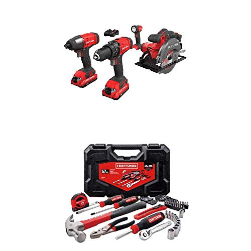 CRAFTSMAN V20 Cordless Drill Combo Kit, 4 Tool with Mechanics Tools Kit/Socket Set, 57-Piece (CMCK401D2 & CMMT99446)