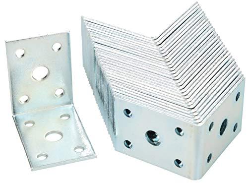 KOTARBAU Winkelverbinder 50 x 50 x 35 mm Stahl Bauwinkel Montagelöcher Möbelwinkel Verzinkt Schwerlast Holzverbinder Montagewinkel Stuhlwinkel (50)