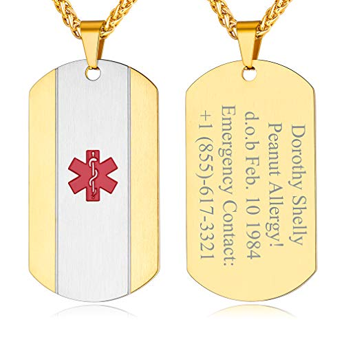 Custom4U Gold Id Pendant,Personalised Medical Alert Dog Tag Necklace for Men Women Boy Plain Emergency Id Pendant with 22'' Chain