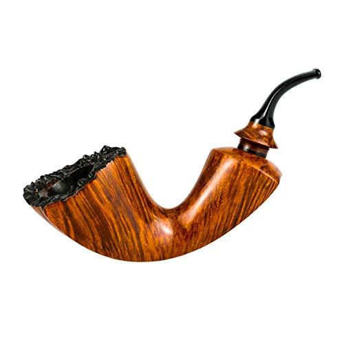 Ktong Pipa para Fumar Tabaco Retro, Pipa de Madera Hecha a Mano, diseñada para Fumadores de Pipa,Smooth