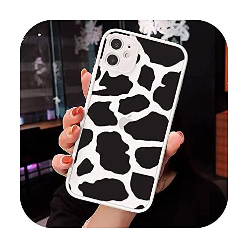 Vaca Color Impresión Moda Patrón Textura Teléfono Caso Mate Transparente para iPhone 7 8 11 12 s Mini pro X XS XR MAX Plus cover-a7-iPhone11