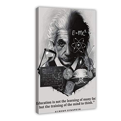 Albert Einstein – Póster educativo con cita inspiradora y motivadora – Lienzo decorativo para pared – Cuadro decorativo para sala de estar, dormitorio, decoración de 50 x 75 cm