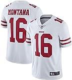 LRH T-shirt à manches courtes pour homme San Francisco 49ers 16# Joe Montana - Maillot Uniformes Rugby Uniformes, blanc, S