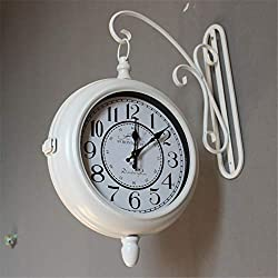 ZJXH Wall Clocks Vintage Wall Mounted Two Faces Retro Station Clock Wall Hanging Clock with Scroll Double Sided Wall Clock for Living Room Bedroom Kitchen (Color : White, Size : Dia 30cm)