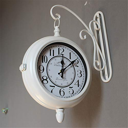 jklj Wall Clocks Vintage Wall Mounted Two Faces Retro Station Clock Wall Hanging Clock with Scroll Double Sided Wall Clock for Home Kitchen Cafe Hotel Office Decor (Color : White, Size : Dia 30cm)