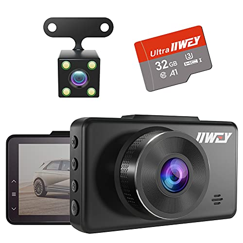 Dash Cam Front and Rear Camera FHD 1080P with Night Vision and SD Card Included, 3 Inch IPS Screen Dash Cam for Cars, 170°Wide Angle Dashboard Camera DVR Motion Detection Parking Monitor G-Sensor HDR (Electronics)