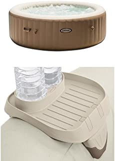 Intex 85in PureSpa Portable Bubble Massage Spa Set and PureSpa Cup Holder, 2 Standard Size Beverage Containers