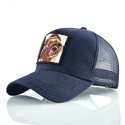 Gorras de bisbol de Moda Hombres Mujeres Snapback Hip Hop Sombrero Verano Malla Transpirable Sun Gorras Unisex Streetwear-Blue Bear