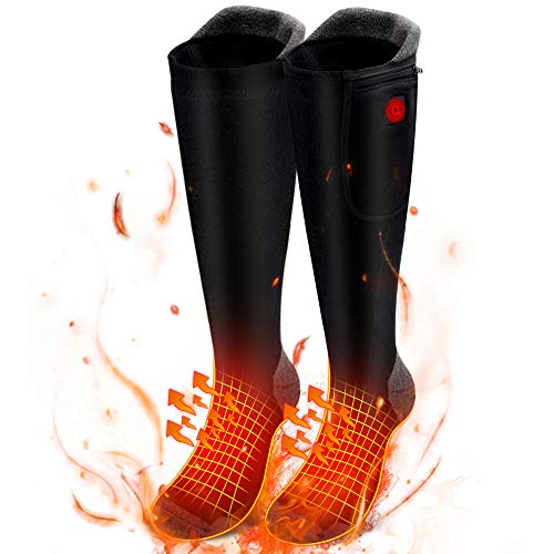 7.4V Heated Socks for Men Woman Rechargeable Heat Socks with 2200mAh Battery Electric Socks Winter Novelty Warm Socks for Hiking Camping Skiing,Boots for Woman,Boys,Girls,Kids