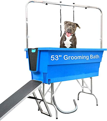 BINGBING Dog Bathing Tub, 53 Inch Dog Washing Station for Home, Multipurpose for Dog Grooming and Bathing