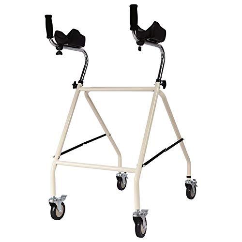Bueuwe Gehgestell mit Armlehnen und Kissen, Rehabilitationsgehhilfe aus verdickter Aluminiumlegierung, Gehhilfegerät für ältere Menschen, höhenverstellbar